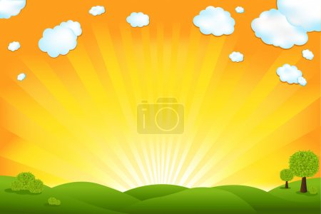 Illustration for Green Field And Sunrise Sky, Vector Illustration - Royalty Free Image