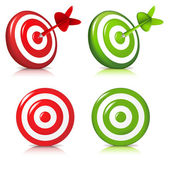 4 Darts Hitting A Target Isolated On White Background Vector Illustration