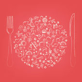 Restaurant Icons In Form Of Sphere Vector Illustration