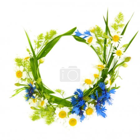 Photo for Floral Round Frame Made of Summer Flowers - Royalty Free Image