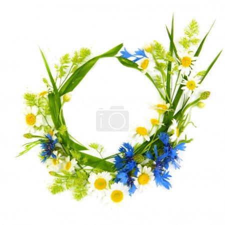 Photo pour Cadre rond floral fait de fleurs d'été - image libre de droit