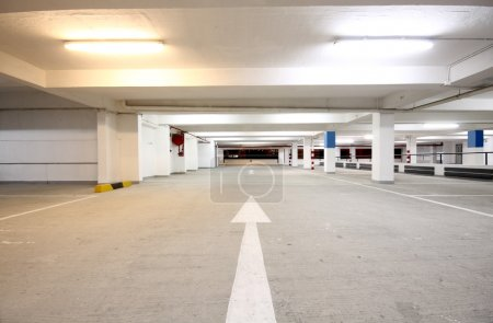 Photo for Indoor carpark atnight in wode angle - Royalty Free Image