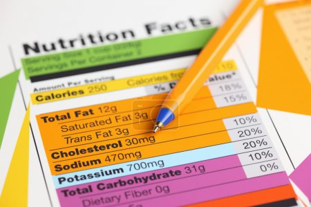 Photo for Nutrition facts and ballpoint pen. Close-up. - Royalty Free Image