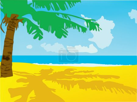 Summer background. A beach with the sea and a palm tree