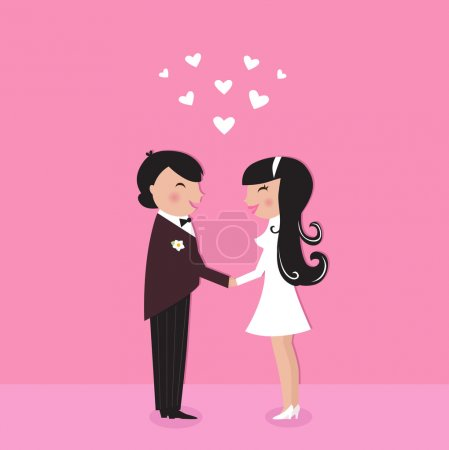 Illustration for Wedding couple - bride and groom, isolated on pink. Vector Illustration. - Royalty Free Image