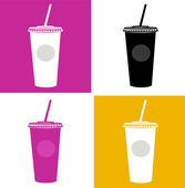 Plastic cup / glass icons - pink black yellow white