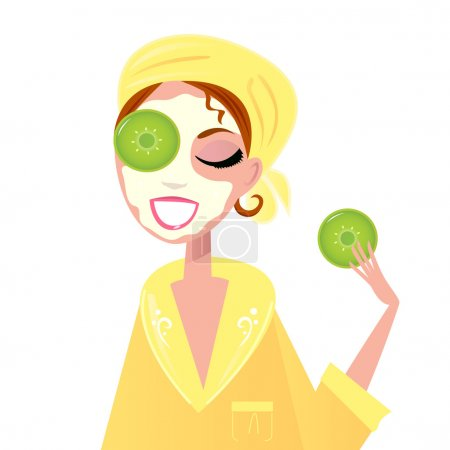 Illustration for Girl with cucumber on eyes and beauty facial mask. Vector Illustration. - Royalty Free Image