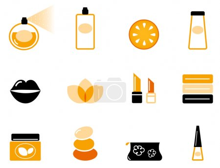Luxury cosmetics and wellness icon set ( orange & black )