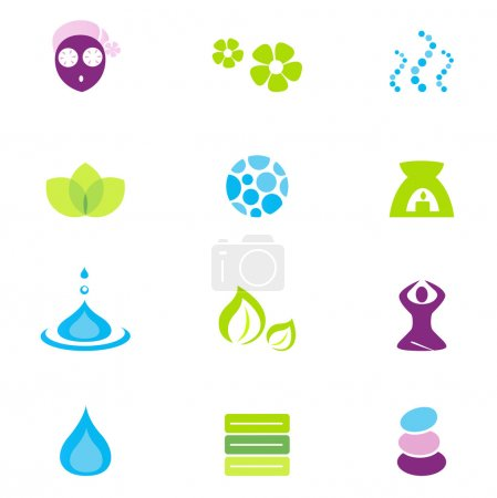 Illustration for Vector collection of wellness and spa icons and symbols. Vector - Royalty Free Image
