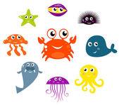 Underwater creatures and animals set Vector cartoon Illustration