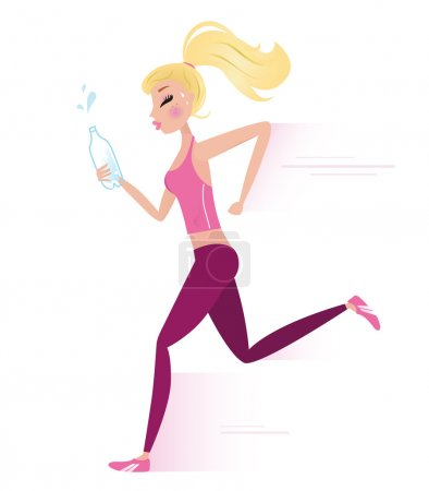 Young sporty woman jogging or running.