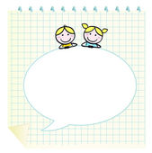 Doodle school children with Notepad and blank speech bubble