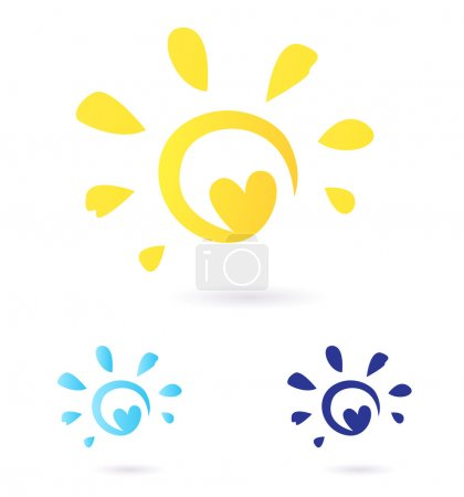 Illustration for Vector Sun sign or icon isolated on white background. Yellow and blue color variants. - Royalty Free Image