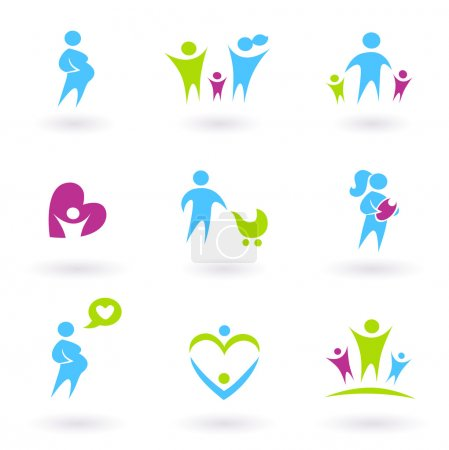Illustration for Icon collection - Family, Pregnancy and Parenthood - blue and green - Royalty Free Image