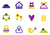 Folk nature and traditional design icons and ornament elements