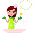 Постер, плакат: Young beautiful woman with speech bubble cooking in the kitchen