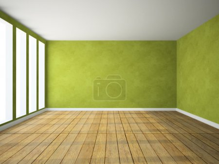 Empty room in green colour