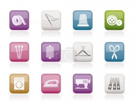 Illustration for Textile objects and industry icons - vector icon set - Royalty Free Image
