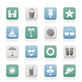 Beach sea and holiday icons