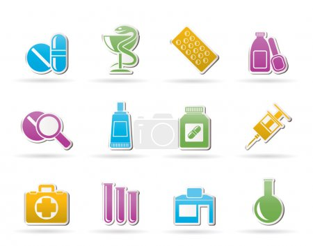 Illustration for Pharmacy and Medical icons - vector icon set - Royalty Free Image