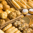 Assortment of fresh bread, rolls, buns and donuts...