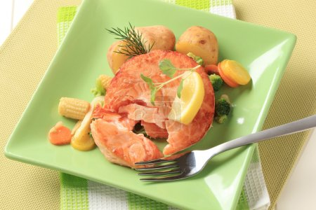 Salmon and mixed vegetables