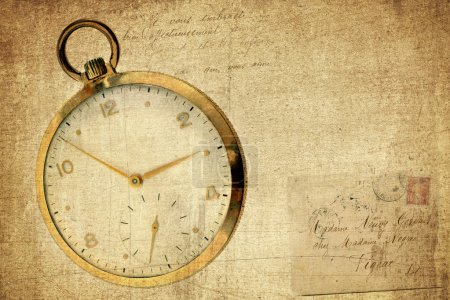 Photo for A vintage pocket watch on a grunge, textured and vintage, background with torn envelope and script. - Royalty Free Image