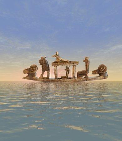 Photo pour Sculpture des dieux égyptiens sur le bateau - image libre de droit