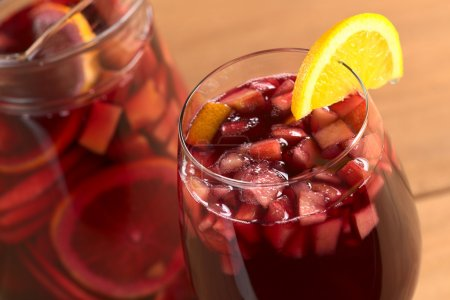 Refreshing red wine punch called sangria mixed wit...