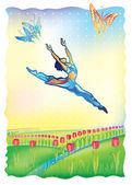 Vector illustration of a ballet dancer on nature background