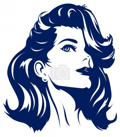 Illustration for Retro girl face in vector - Royalty Free Image