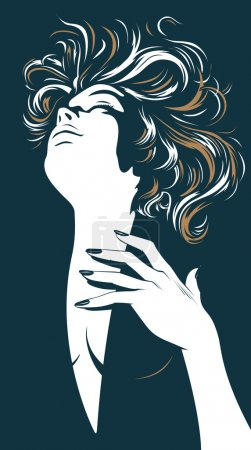 Illustration for Glamour pretty women silhouette - Royalty Free Image
