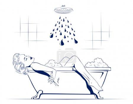 Illustration pour Jeunes femmes beauté se détendre sur la salle de bain avec cigarette - image libre de droit