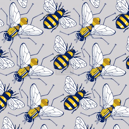 Bee fly background pattern
