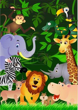 Photo pour Caricature animalière dans la jungle - image libre de droit