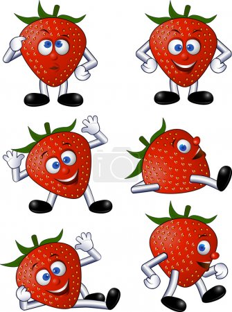 Illustration for Strawberry cartoon character - Royalty Free Image