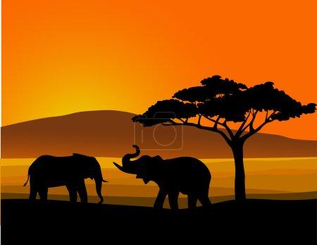 Illustration pour Afrique silhouette animale - image libre de droit