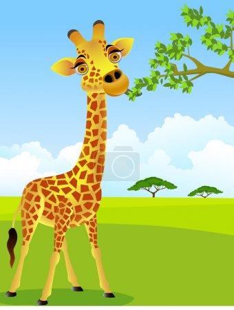 Illustration pour Caricature girafe - image libre de droit
