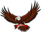 Vector illustration of eagle with emblem