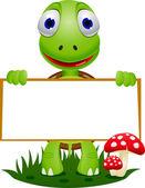Cute turtle holding blank signboard
