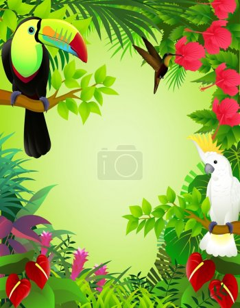 Photo for Vector illustration of tropical birds in the jungle - Royalty Free Image