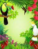 Vector illustration of tropical birds in the jungle