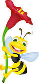 Vector illustration of happy bee holding a flower
