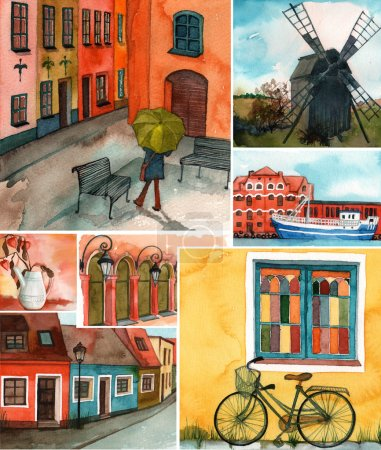 Photo pour Beau collage de bâtiments et rues suédois illustrés - image libre de droit