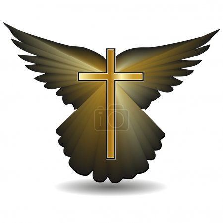 Religious cross against the background of the wings.Vector