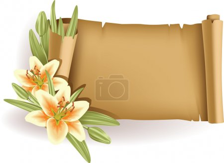 Greeting card with lilies and scroll - horizontal