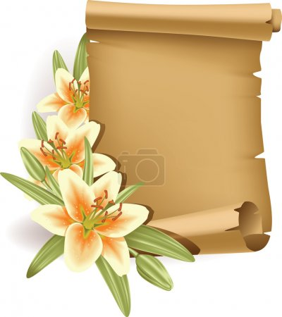 Greeting card with lilies and scroll - vertical