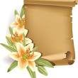 Vector illustration of greeting card with lilies and old scroll.