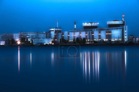 Nuclear power plant at night in South Ukraine
