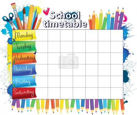 Illustration for Color schedule for student - Royalty Free Image